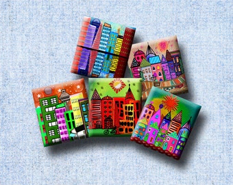 FUNKY TOWNS - Digital Collage Sheet .75 x .83 inch Scrabble Tile Images. Pendants, magnets, earrings, scrap-booking. Instant Download #221.