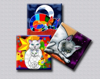 1.5 inch square images - WHIMSICAL CATS - Digital Collage Sheet for pendants, magnets, decoupage, scrap-booking etc. Instant Download #246.