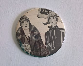 Hitting the Street Pocket Mirror --- Vintage 1920's Flapper Beauties --- Art Deco Darling Bright Young Things Accessory Stocking Stuffer