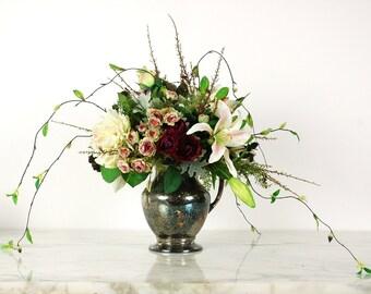 Floral Arrangement in Vintage Silverplate Pitcher, Silk Flower Arrangement, Roses, Orchids, Centerpiece, Faux Flower, Lavender, Cream
