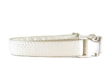 Ivory and Silver Dog Collar - Metallic Polkadot Metal Buckle Wedding Dog Collar