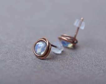 moonstone studs moonstone earrings post earrings stud earrings copper bridesmaid earrings gemstone earrings moonstone jewelry gift for women