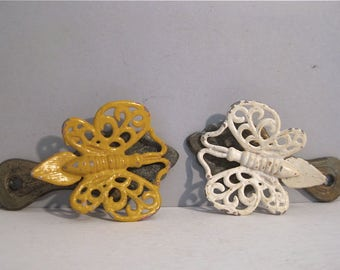 Vintage Pair of Butterfly Note Clips 1970s Note Holder Desk Office Decor Painted Metal Brass