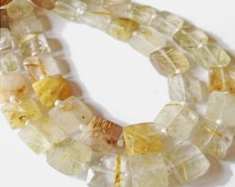 Golden rutilated quartz faceted squares.   Approx. 8.25mm x 8.25mm.  Select a quantity.