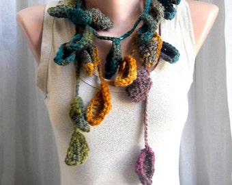 Leaf  Scarf Lariat Scarf Boho Scarf Crochet Garland Crocheted Necklace Fashion Accessories Women Flower Scarf Festival Scarf