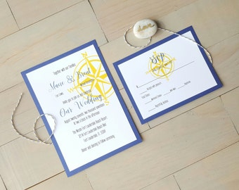 Nautical Wedding Invitations, Destination Wedding, Beach Wedding
