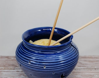 Handcrafted Ceramic Yarn Bowl--Made to Order, Handmade Yarn Bowl, Ceramic Yarn Bowl, Cobalt Blue Yarn Bowl, Yarn Organizer, Knitters Bowl