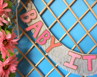 Baby It's You FUN CULT Fringe Banner   wall hanging banner, fringe party banner, party sign, fringe garland, baby shower, engagement party