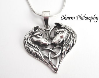 Wolf Necklace - 925 Sterling Silver Jewelry - Two Dogs / Wolves Heart Pendant