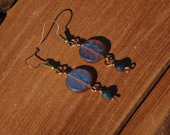 Indigo Moon Earrings, Moon Earrings, Boho OOAK Earrings, Gypsy Earrings, Blue handmade jewelry earrings, gift for her, arcturuscreations