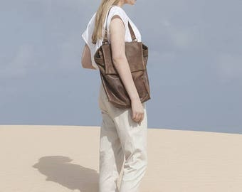 Sale, Shoulder Backpack Bag, Brown Leather Backpack Purse, Student Bag, Handmade Tote Bag