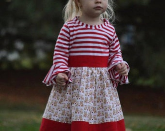 Reindeer Love knit and woven Christmas dress for toddlers and girls