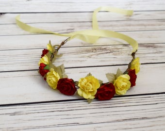 Handcrafted Belle Flower Crown - Yellow and Red Rose Tiara - Woodland Flower Crown - Flower Girl Halo - Adult Flower Crown - Belle Headband