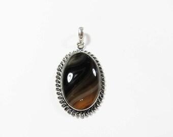 Black Brown Botswana Agate Gemstone, Sterling Silver Pendant, 55x30mm, Gemstone Necklace, Black Agate Pendant, Black Sterling Silver Jewelry