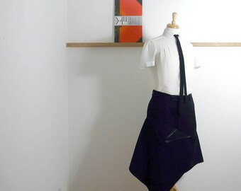 Size M  - Suit Drape Skirt in Black Tuxedo - Upcycled - (33.5inch)