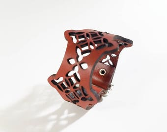 Moorish Diamond Leather Bracelet with adjustable button closure or e-hook clasp, leather cuff bracelet, leather cuff, hipster, mens jewelry