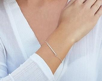 Silver bar bracelet, Skinny bar bracelet, Layering bracelet, Simple silver bracelet, Minimalist bracelet, Bridesmaid gifts