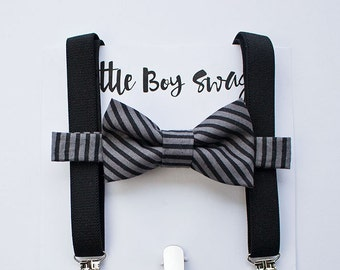 Boys Black Grey Bow tie Black Suspenders, Boys Formal Wear, Wedding Bow Tie, Ring Bearer Outfit, Birthday, Boys Outfit, 1st First Birthday