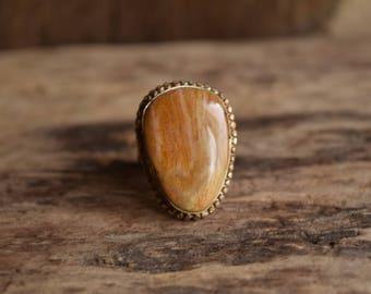 Tan Bohemian Ring - Natural Stone Ring - Size 7.75 - Gemstone Ring - Brown Stone Ring - On Sale - Vintage Stone Ring - Gemstone Jewelry