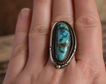 Long Turquoise Ring - Size 9 Rings - Large Turquoise Ring - Natural Stone Rings - Southwestern Ring, Bohemian Turquoise Rings, old pawn ring