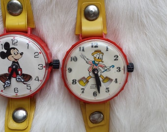 Two Vintage Marx Watch Toys Donald Duck Mickey Mouse Disney