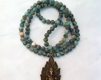 Ganesha Mala 108 African Turquoise Mala Beads for wholeness, expansion and communication