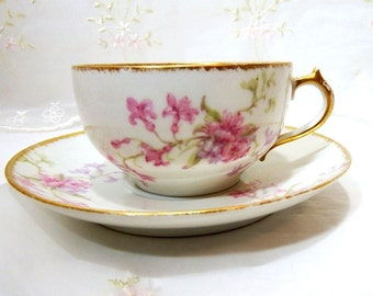 Antique C H Field Limoges, Circa 1900, Tea Cup and Saucer, GDA France, Pink Floral Sprays