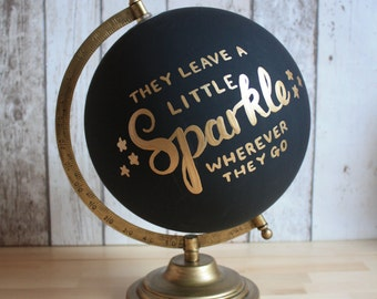 "Hand Lettered Black & Gold Chalkboard Globe | 8"" Diameter 