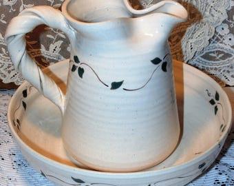 Vintage Pitcher and Basin Bowl Set Hand Thrown Karlin Pottery Leaf Pattern