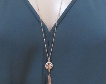 Rose Gold Tassel Necklace, tassel necklace, necklace, long necklace, bead chain, arrow, dainty chain, satellite, aztec, tribal, fringe, fili