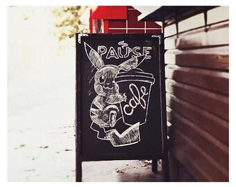 Pokemon Cafe Urban Street Fine art photography Kitchen Brown Neutral color wall print Funny Pokemon print Coffee shop photo Kitchen decor