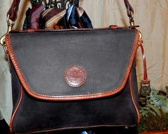 VP000283 Timberland Flap Front cross body handbag; matte black leather, brown leather trim and strap #GodOdditiesDecor On #Etsy