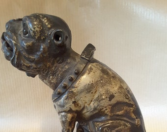 Bull dog bank,  cast iron mechanical bank, old bank, cast iron bank, mechanical bank, antique bank