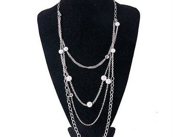 Premier Designs FASHION SENSE Faux pearls Rhodium Finished  Multichain Waterfall Necklace - retired