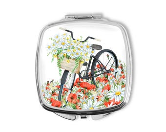 Bicycle and Flowers Mirror, Mothers Day, Compact Mirror, Party Favors, Vintage Bike, Gift for Mom, Gift under 15, Birthday Gift for Her