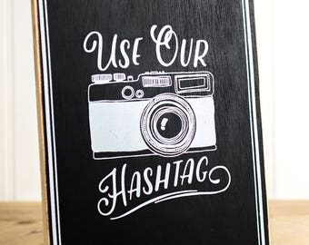 "Wood Hashtag Chalkboard Sign Erasable Wedding Dowel Easel Back To Stand Alone Or Hang On Wall  7"" x 10"""
