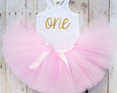 Pink and Gold First Birthday Outfit...Pink and Gold Tutu...Birthday Girl Tank Top...First Birthday Girl Outfit...One Year Old Birthday Tutu