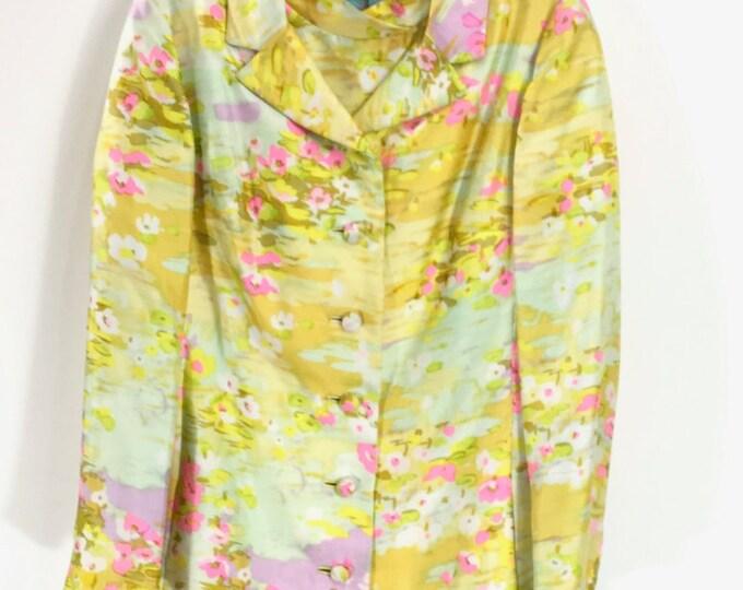 Vintage 1960s silk suit dress and jacket set pastel watercolor print size small - medium