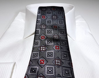 Silk Tie in Geometric Red Charcoal Grey and Black
