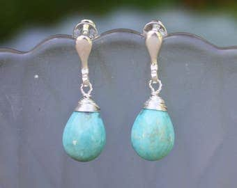 Natural Untreated Morena Arizona Turquoise Wire Wrapped Earrings in Sterling Silver , December Birthstone , Healing Gem , 11th Anniversary
