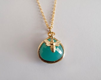 Blue Gold Bee Drop  Necklace - Gift for Her