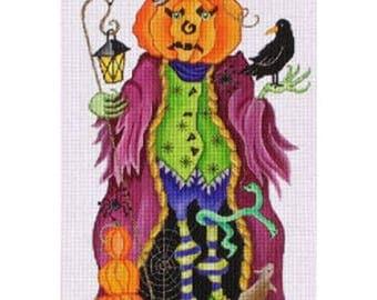 Needlepoint Handpainted Amanda Lawford HALLOWEEN Pumpkin Man -Free US Shipping!!!