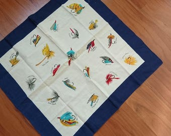 "Vintage Fly Fishing Neck Scarf - Pocket Square - 19"" x 19"""