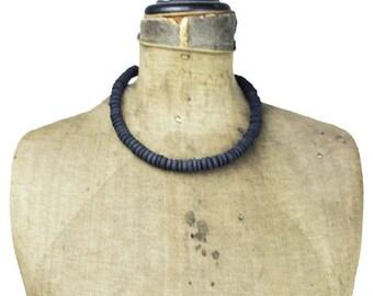 Black Wood Bead Necklace, Black Wood Necklace, Black Bead Necklace, Black Necklace
