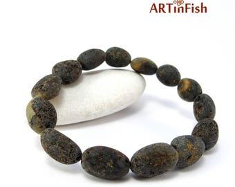 "Genuine BALTIC AMBER BRACELET for Men. Therapeutic! Raw massive dark bean-beads. Large size  ~8.3"" on elastic"