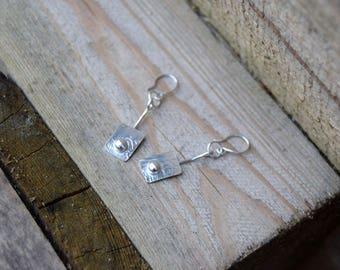 Victoriana style drop earrings, silver drop earrings, boho drop earrings, boho silver earrings, rustic earrings