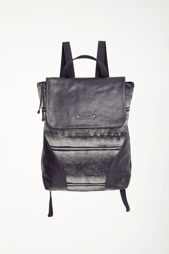 FIREWORKS - leather backpack - black with deconstruted silkscreen look edgy and grunge