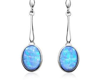 Blue Opal Drop Earrings, Sterling Silver with Vibrant Oval Opals