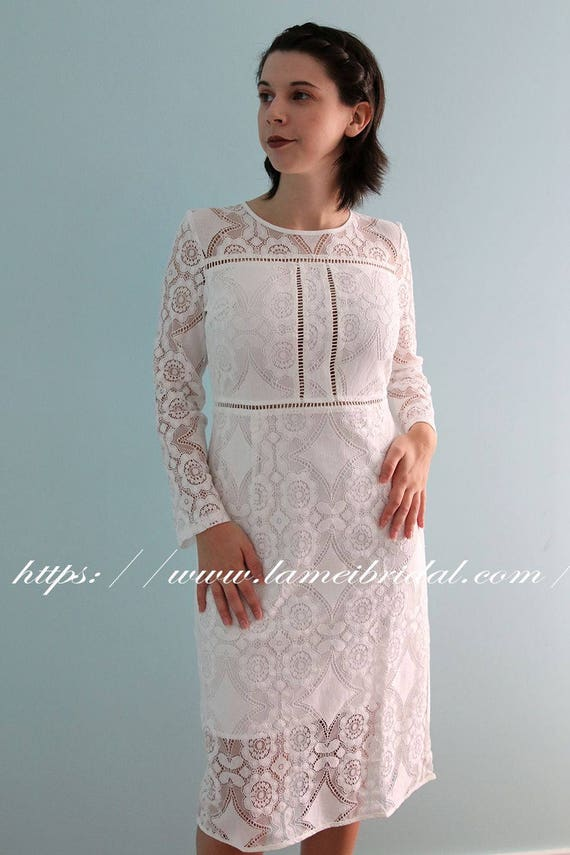 Tea Length Lace short Wedding Dress with Short Liner and Long