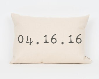 Custom Wedding Date // Personalized Wedding Gift // Custom Pillow // Anniversary Gift // Gift for Her // Cotton Gift // Rustic Pillow